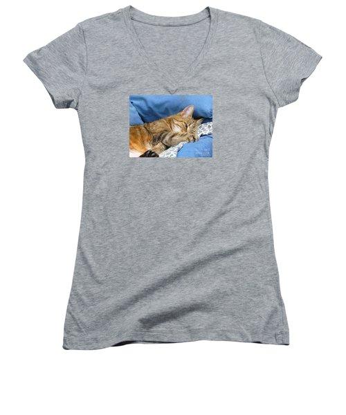 Women's V-Neck T-Shirt (Junior Cut) featuring the photograph Cat Nap by Lingfai Leung