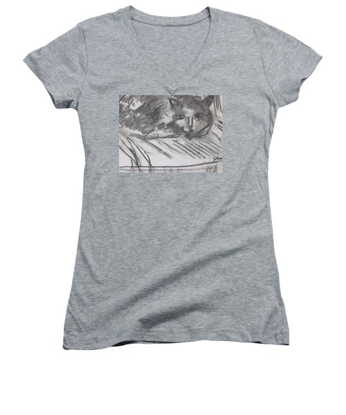 Cat Relaxing Women's V-Neck (Athletic Fit)