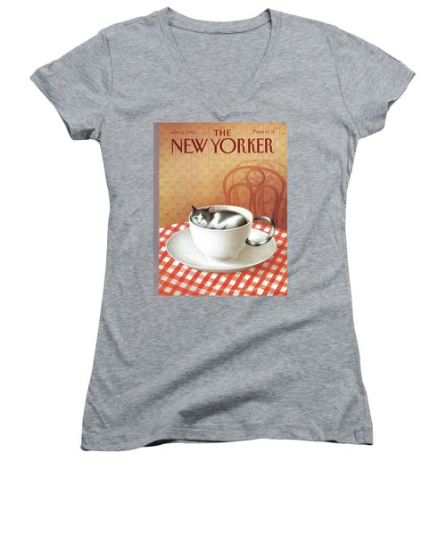 Cat Sits Inside A Coffee Cup Women's V-Neck