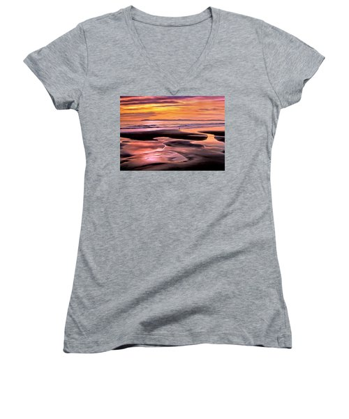 Women's V-Neck T-Shirt (Junior Cut) featuring the painting Catalina Sunset by Michael Pickett