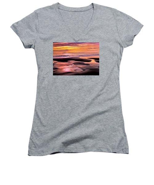 Catalina Sunset Women's V-Neck T-Shirt (Junior Cut) by Michael Pickett