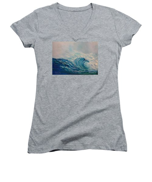Women's V-Neck T-Shirt (Junior Cut) featuring the painting Wave 111 by Jenny Lee