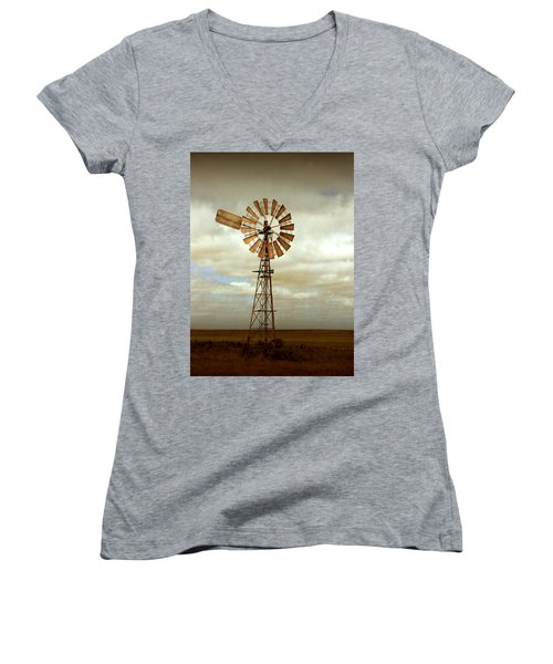 Catch The Wind Women's V-Neck T-Shirt (Junior Cut) by Holly Kempe