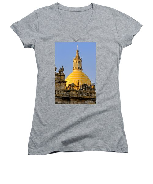 Women's V-Neck T-Shirt (Junior Cut) featuring the photograph Catedral De Guadalajara by David Perry Lawrence