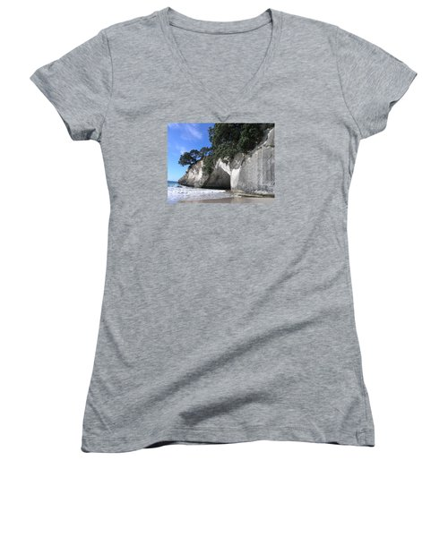 Women's V-Neck T-Shirt (Junior Cut) featuring the photograph Cathedral Cove by Christian Zesewitz