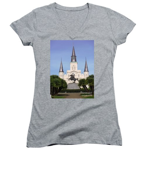 Women's V-Neck T-Shirt (Junior Cut) featuring the photograph Cathedral In Jackson Square by Alys Caviness-Gober