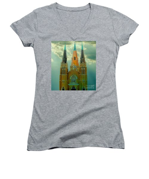 Cathedral Of The Holy Family  Women's V-Neck T-Shirt (Junior Cut) by Janette Boyd