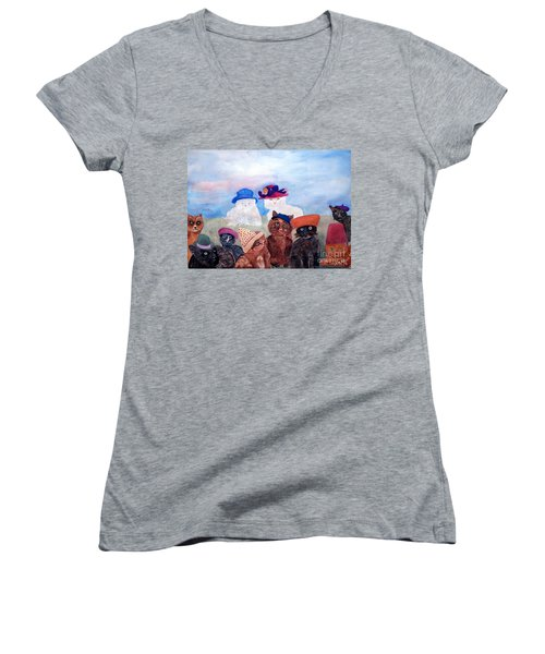Cats In Hats Women's V-Neck