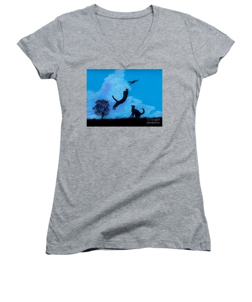 Women's V-Neck T-Shirt (Junior Cut) featuring the drawing Cats -  Playing by D Hackett
