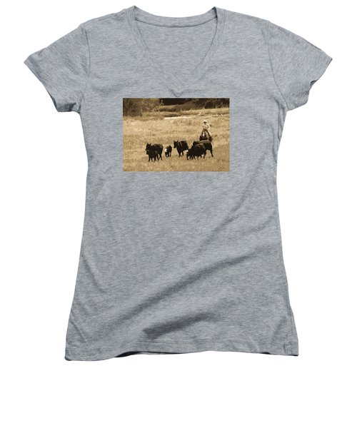 Cattle Round Up Sepia Women's V-Neck T-Shirt (Junior Cut) by Athena Mckinzie