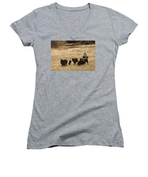 Cattle Round Up Sepia Women's V-Neck T-Shirt