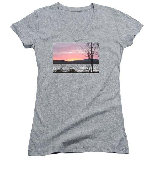Caucomgomoc Lake Sunset In Maine Women's V-Neck