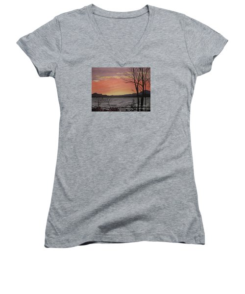 Caucomgomoc Lake Sunset In Maine Women's V-Neck (Athletic Fit)