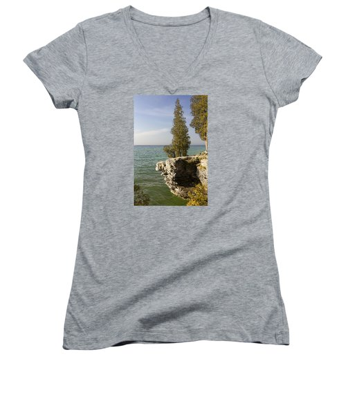 Cave Point - Signed Women's V-Neck T-Shirt (Junior Cut) by Barbara Smith