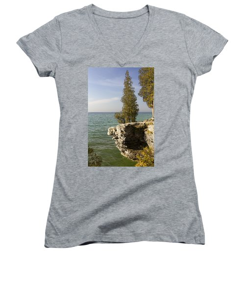 Cave Point - Signed Women's V-Neck