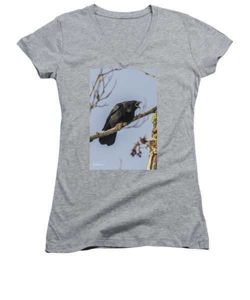 Caw Women's V-Neck T-Shirt (Junior Cut) by Charlie Duncan