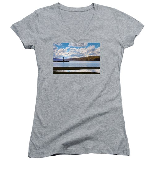Women's V-Neck T-Shirt (Junior Cut) featuring the photograph Cayuga Lake In Colorful Fall Ithaca New York IIi by Paul Ge
