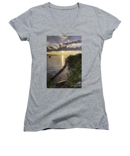 Cayuga Sunset II Women's V-Neck T-Shirt