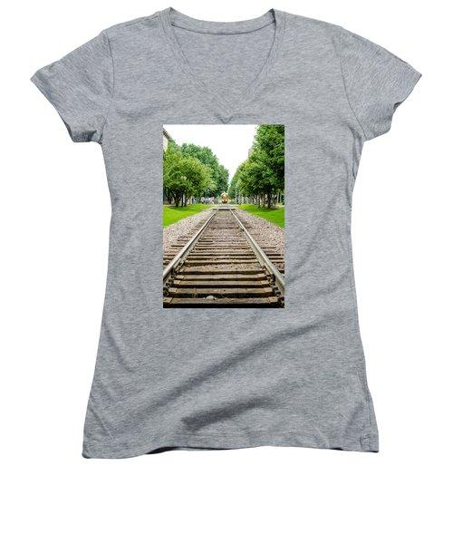 Cedar Rapids Train Coming Down The Tracks Women's V-Neck T-Shirt