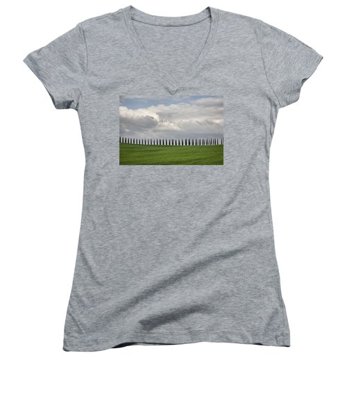 Women's V-Neck T-Shirt (Junior Cut) featuring the photograph Cedar Sienna by Hugh Smith