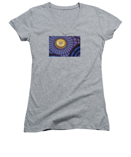 Women's V-Neck T-Shirt (Junior Cut) featuring the photograph Ceiling In The Chattanooga Choo Choo Train Depot by Susan  McMenamin