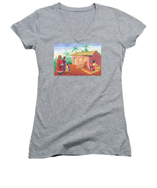 Women's V-Neck T-Shirt (Junior Cut) featuring the painting Celebration Of The Nativity In Cameroon by Emmanuel Baliyanga