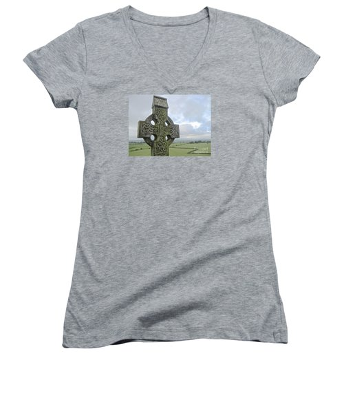 Women's V-Neck T-Shirt (Junior Cut) featuring the photograph Celtic Cross by Suzanne Oesterling