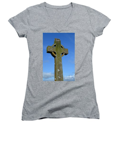 Celtic Stone Cross In Ireland Women's V-Neck T-Shirt (Junior Cut) by DejaVu Designs