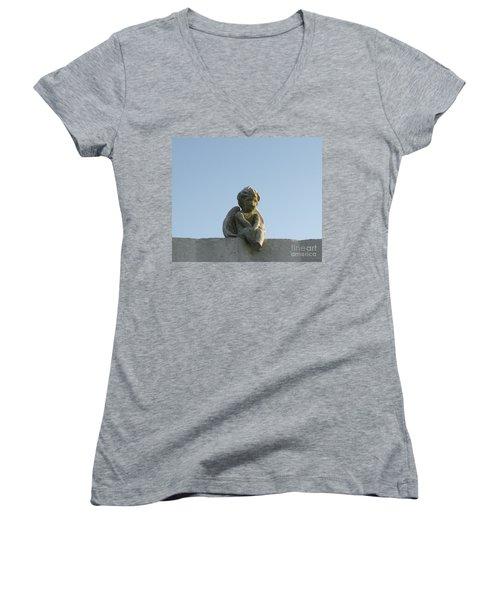 Cemetery Cherub Women's V-Neck T-Shirt (Junior Cut) by Joseph Baril