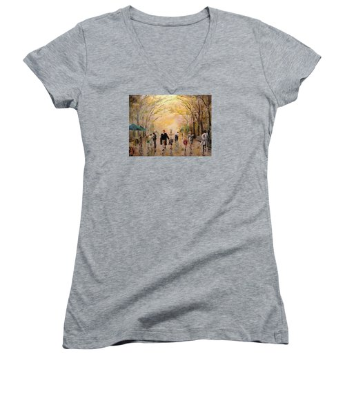 Central Park Early Spring Women's V-Neck T-Shirt (Junior Cut) by Alan Lakin