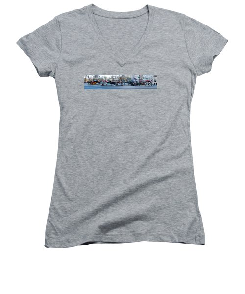 Central Park Horse Carriage Station Panorama Women's V-Neck