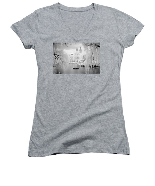 Central Park Lake-infrared Willows Women's V-Neck