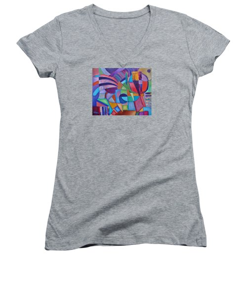Women's V-Neck T-Shirt (Junior Cut) featuring the painting Cerebral Decor # 2 by Jason Williamson