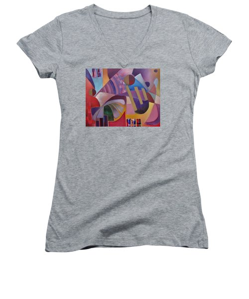 Women's V-Neck T-Shirt (Junior Cut) featuring the painting Cerebral Decor by Jason Williamson