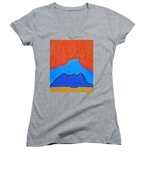 Cerro Pedernal Original Painting Sold Women's V-Neck T-Shirt (Junior Cut) by Sol Luckman