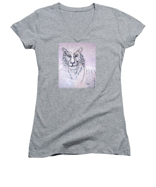 Women's V-Neck T-Shirt (Junior Cut) featuring the painting Chairman Of The Board by Phyllis Kaltenbach