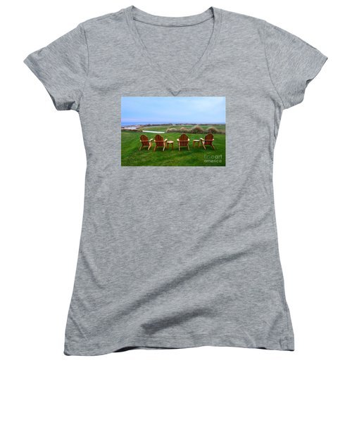 Chairs At The Eighteenth Hole Women's V-Neck T-Shirt (Junior Cut) by Catherine Sherman