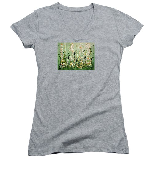 Women's V-Neck T-Shirt (Junior Cut) featuring the painting Champagne Symphony by Holly Carmichael