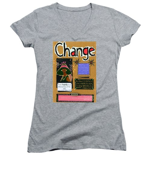 Change - Handmade Card Women's V-Neck T-Shirt (Junior Cut) by Angela L Walker