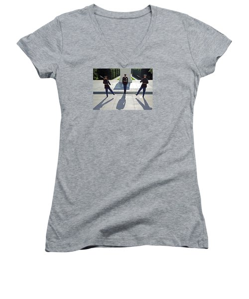 Women's V-Neck T-Shirt (Junior Cut) featuring the photograph Changing Of The Guard by Cora Wandel