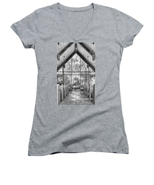 Women's V-Neck featuring the photograph Chapel by Howard Salmon