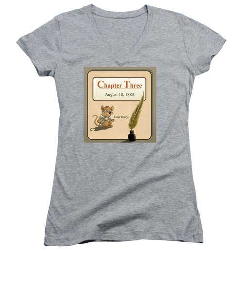 Women's V-Neck T-Shirt (Junior Cut) featuring the painting Chapter Three by Reynold Jay