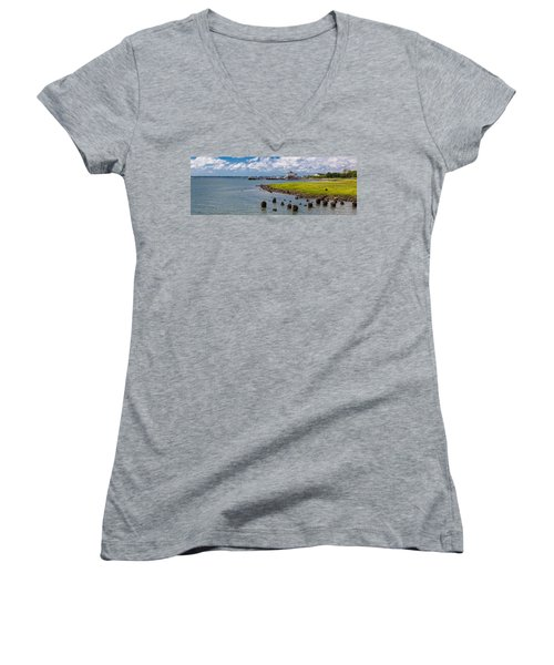 Women's V-Neck T-Shirt (Junior Cut) featuring the photograph Charleston Harbor by Sennie Pierson