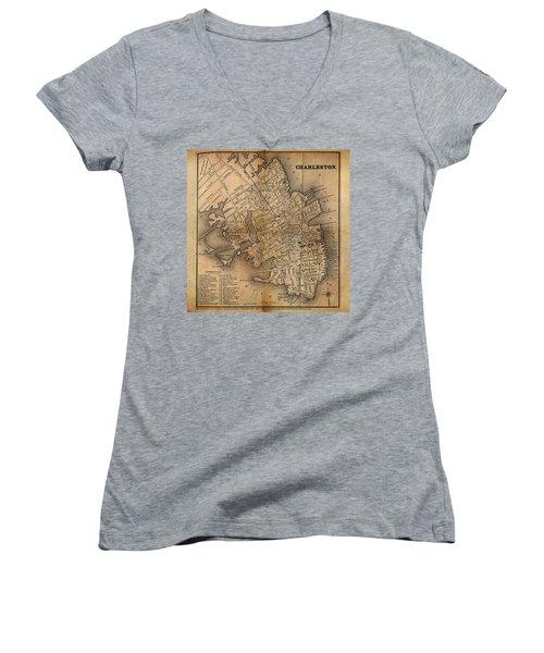 Charleston Vintage Map No. I Women's V-Neck T-Shirt (Junior Cut) by James Christopher Hill