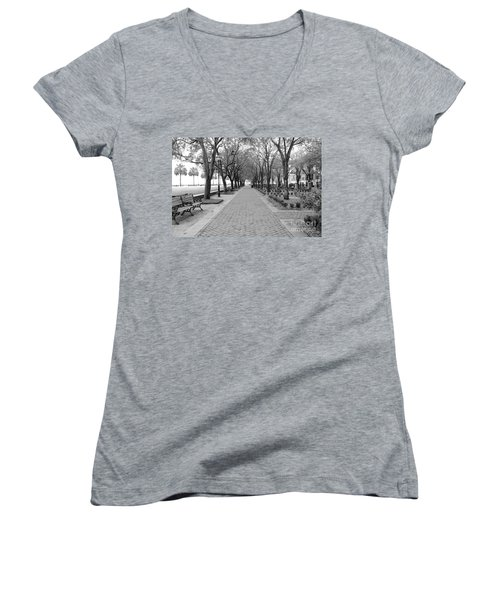 Charleston Waterfront Park Walkway - Black And White Women's V-Neck (Athletic Fit)