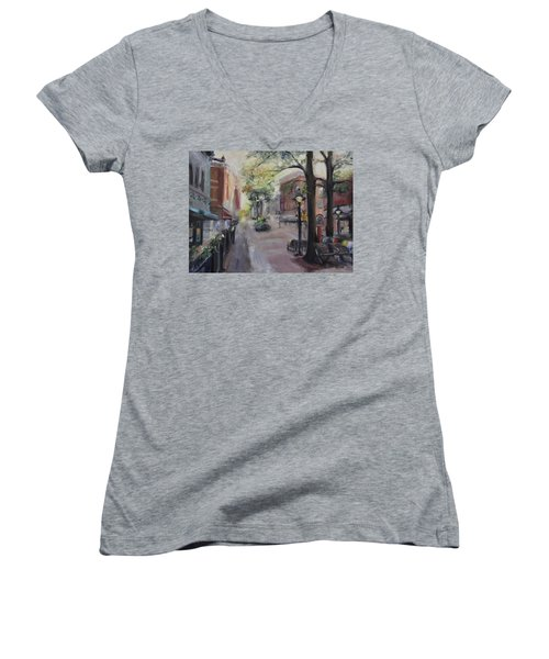 Charlottesville's Historic Downtown Mall Women's V-Neck T-Shirt