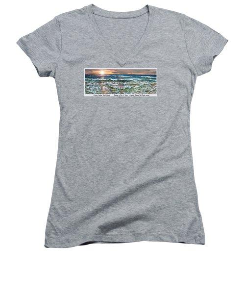 Chasing Chatham Beach Sunsets Women's V-Neck T-Shirt (Junior Cut) by Rita Brown