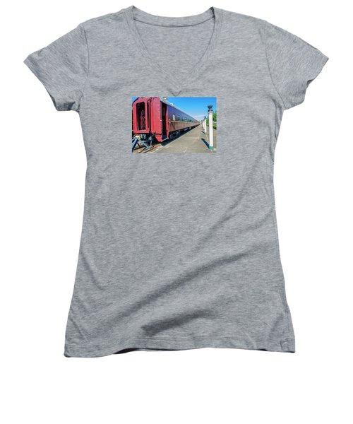 Women's V-Neck T-Shirt (Junior Cut) featuring the photograph Chattanooga Choo Choo 1 by Susan  McMenamin
