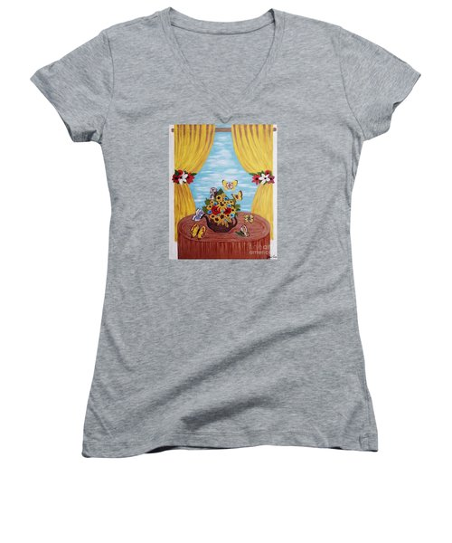Women's V-Neck T-Shirt (Junior Cut) featuring the painting Cheerful Butterflies by Jasna Gopic