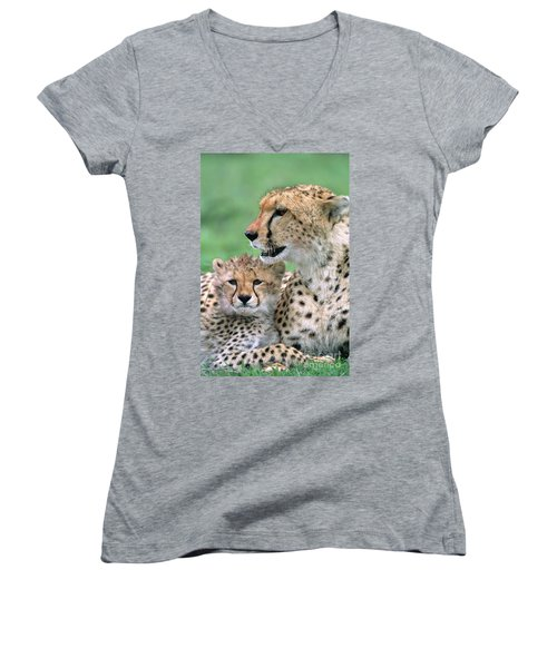 Cheetah Mother And Cub Women's V-Neck